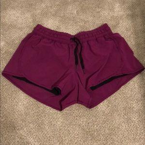 Purple Lululemon Shorts with Black Mesh Liner